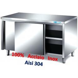 Tavolo Inox Armadiato con Porte Scorrevoli 1400x600x850 Senza Alzatina Posteriore