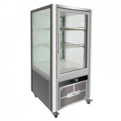 Espositore refrigerato vetrina 4 lati a vetro luce led temp. +2/+8° C capacità 200 lt