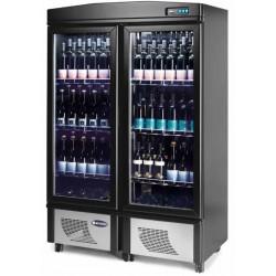 Cantina Vini in Legno Nero con RUOTE refrigerazione Ventilata cap, 180lt