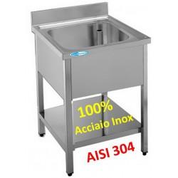 Lavello Inox 1 Vasca con Ripiano mm 600x600x850