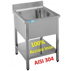Lavello Inox 1 Vasca con Ripiano 500x700x850