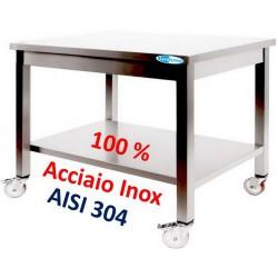 Tavolo in Acciaio Inox Professionale su Ruote 700x600x850