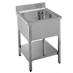 Lavello inox 1 vasca con ripiano mm 700x700x850