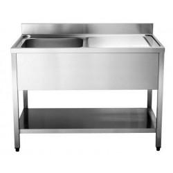 Lavello inox 1 vasca con gocciolatoio a destra e ripiano mm 1400x600x850