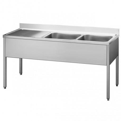 Lavello Inox 2 Vasche e Gocciolatoio 1400x600x850
