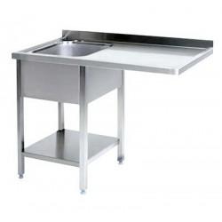 Lavatoio inox 1 vasca con vano lavastoviglie a destra cm 140x70x85h