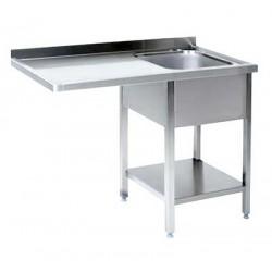 Lavatoio inox 1 vasca con vano lavastoviglie a sinistra cm 140x70x85h