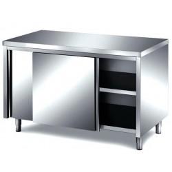 Tavolo inox armadiato con porte scorrevoli 1500x700x850 senza alzatina posteriore