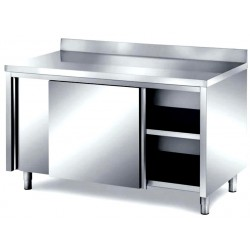 Tavolo inox armadiato professionale con porte scorrevoli e alzatina posteriore mm 1000x700x850