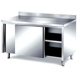 Tavolo inox armadiato professionale con porte scorrevoli e alzatina posteriore mm 1200x600x850