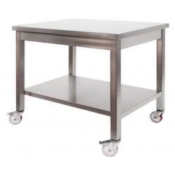 Tavolo in acciaio Inox professionale su ruote mm 700x700x850
