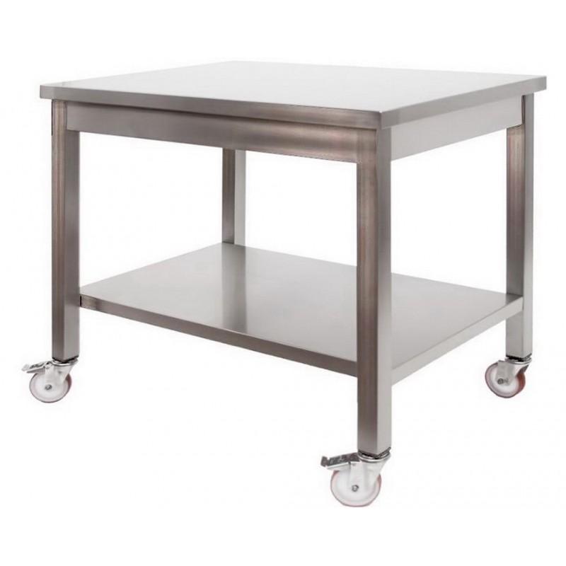 Tavolo in Acciaio Inox Professionale su Ruote 1000x600x850