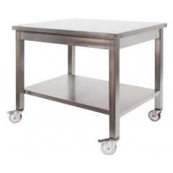 Tavolo in acciaio inox professionale su ruote mm 1400x600x850