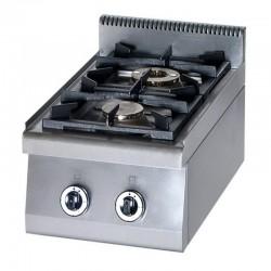 Cucina Professionale a Gas 2 Fuochi da Banco   KW 12  Dim cm 40x70x28h