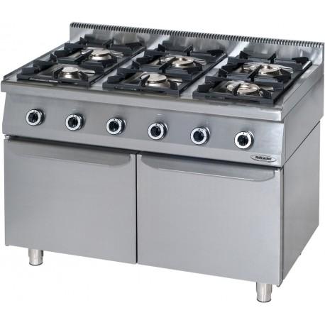 Cucina Professionale a Gas 6 Fuochi su Mobile con Porte  KW 36.5 Dim cm 120x70x90h