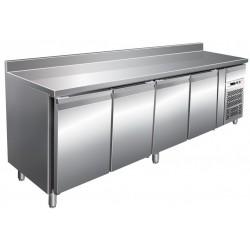 Tavolo refrigerato con alzatina 4 porte temp. - 2° + 8° ventilato mm 2230x700x850
