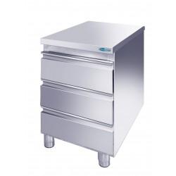 Cassettiera Inox acciaio AISI 304 3 cassetti mm 500x600x850