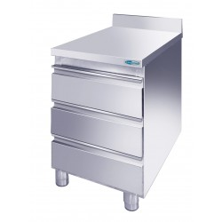 Cassettiera Inox acciaio AISI 304 3 cassetti mm 400x700x850 con ALZATINA POSTERIORE
