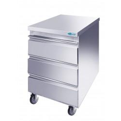 Cassettiera Inox acciaio AISI 304 3 cassetti CON RUOTE mm 500x600x805