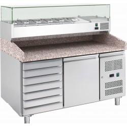 Banco pizza refrigerato 1 porta 60x40 e cassettiera completo di vetrinetta GN 1/4