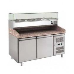 Banco pizza refrigerato 2 porte 60x40 completo di vetrinetta GN 1/3