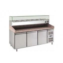 Banco pizza refrigerato 3 porte 60x40 completo di vetrinetta GN 1/4