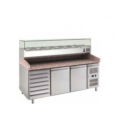 Banco pizza refrigerato 2 porte 60x40 con cassettiera completo di vetrinetta GN 1/3