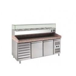 Banco pizza refrigerato 2 porte 60x40 con cassettiera completo di vetrinetta GN 1/4