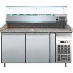 Banco pizza refrigerato 2 porte 60x40 completo di vetrinetta GN 1/4