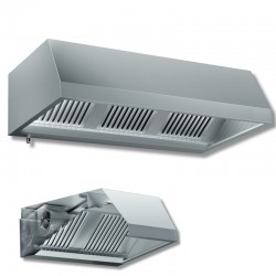 Cappa a parete con motore dim. cm. 200x110x45 - acciaio inox aisi 304