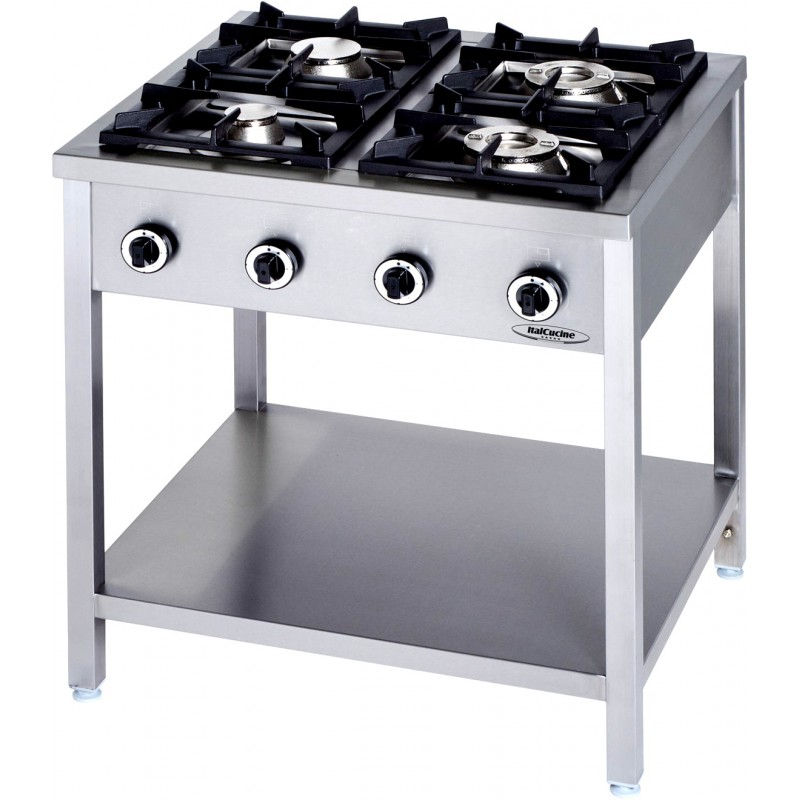 Cucine A Gas Professionali Usate.Cucina Professionale A Gas 4 Fuochi Linea 90 Kw 24 5 Dim Cm 90x90x90