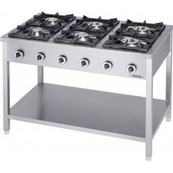 Cucina Professionale a Gas 6 Fuochi Linea 90  KW 36,5 Dim cm 130x90x90h