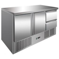 Tavolo Refrigerato 2 Porte con Motore in Basso Mod S903 SS TOP + 2 Cassetti