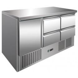 Tavolo Refrigerato 1 Porta con Motore in Basso Mod S903 SS TOP + 4 Cassetti