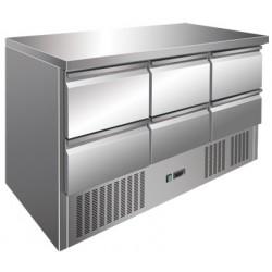 Tavolo Refrigerato con Motore in Basso Mod S903 SS TOP + 6 Cassetti